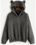 Teddy Hoodie Sweatshirt in Rauch